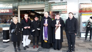 Fr Philip, Fr Robert & members of St Michael's after a long, cold morning.